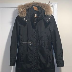 MK Michael Kors black coat with real fur hood trim